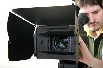 operator work with stand HD-camcorder