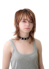 Young woman in collar