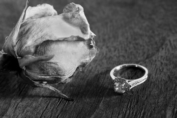 Diamond Ring and Dried Rose