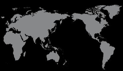 Carte Monde Gris sur fond Noir