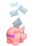 3d letters, falling in a piggy bank - e-mail poster