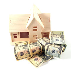 House and different dollar bills on a white background