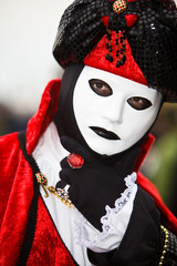 Red and black Venetian costume