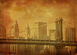 vintage grunge image of new york city-