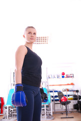 Boxer woman in gym
