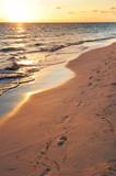Fototapety Footprints on sandy beach at sunrise