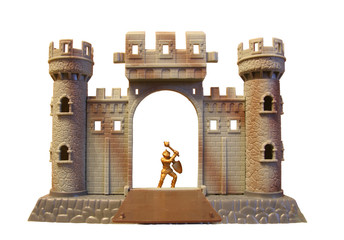 front side of toy knight castle