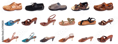 Many fancy man's and woman shoes
