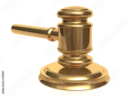 Metallic gavel and stand