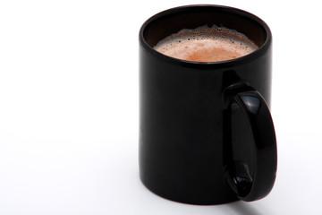 black cup of cappucino