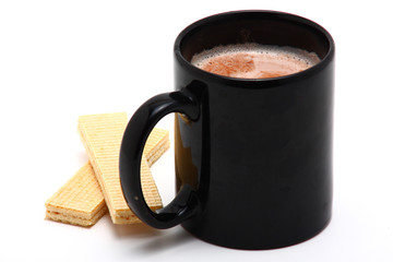 black cup of cappucino isolated