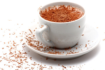 cup of cappucino with chocolate