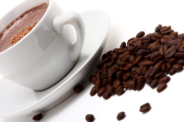 cappucino and beans of coffee