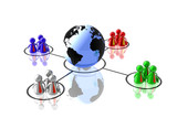 world partnership 3d illustration poster