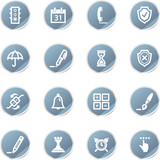 blue sticker software icons poster