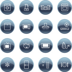 Mineral drop household appliances icons