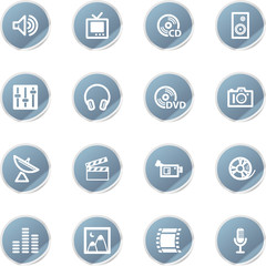 blue sticker media icons