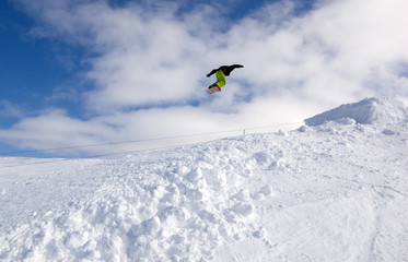Snowboarder Rotating Mid-Air