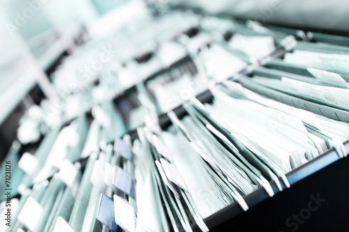 Leinwanddruck Bild Piles of files