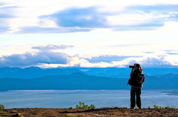 Tourist-photographer. Kamchatka.