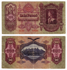 high resolution vintage hungarian banknote from 1930