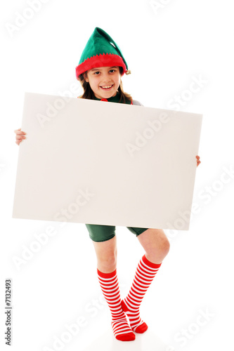 Christmas Elf Displaying Your Message