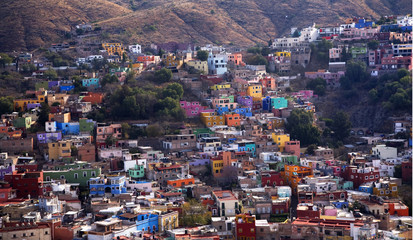 Many Colored Houses Guanajuato Mexico