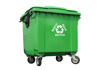 Green plastic disposal container
