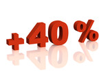 Red 3d inscription - plus of  forty percent poster