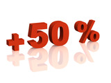 Red 3d inscription - plus of fifty percent poster