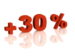 Red 3d inscription - plus of thirty percent
