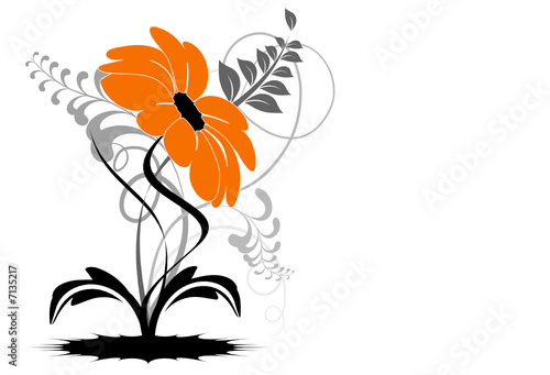 vecteur série - étrange fleur orange vectorielle