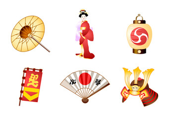 Japanese culture symbols in vector