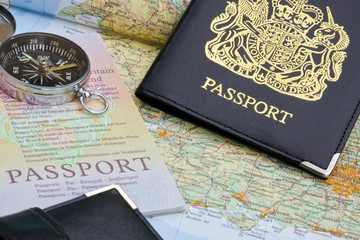 British passport and map
