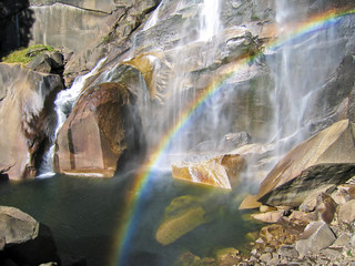 waterfall with rainbow in Yosemite
