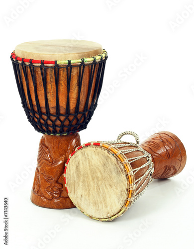 canvas print picture Two African djembe drums