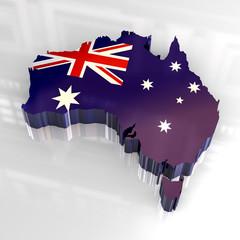 3d flag map of australia