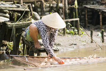 vietnamese woman washing