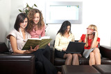 Businesswomen in lounge poster