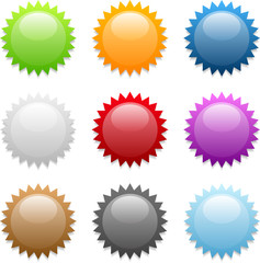 Set of various colored round sticker icons