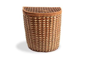 Nice wicker wooden big basket on white background