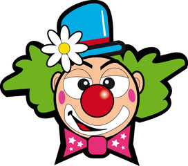 clown with flowers