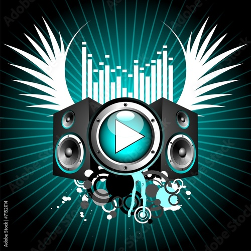 vector illustration for musical theme with play button