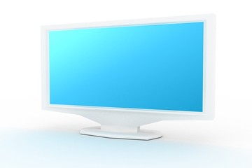 white monitor with blue shade