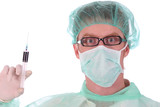 surgeon with injection poster