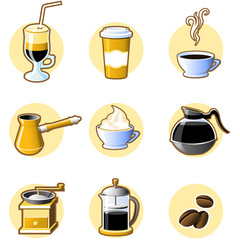 Nine coffee icons -  coffee-beans, cuo and other