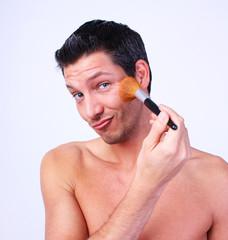 Mann Gesicht Pinsel Makeup Puder Schminke Schminken