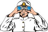 Navy captain with binoculars poster