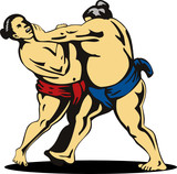 Sumo wrestlers grappling poster