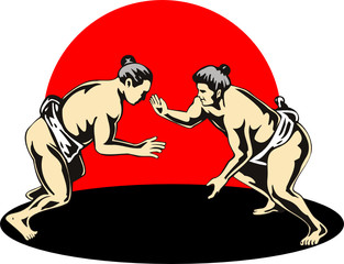 Sumo wrestlers fighting